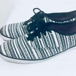 Sparkle Striped Ked Flats Size 11 Silver Black White Antique Alchemy