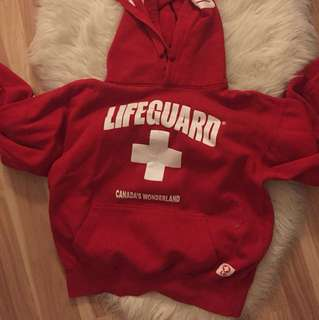red lifeguard sweater