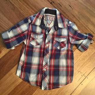 Boys Guess red, blue & white check shirt, size 2 T