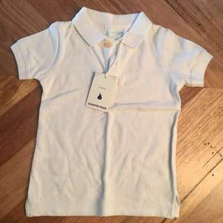BNWT boys Country Road white polo shirt, size 3