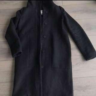 Oak and Fort Black Wool Coat