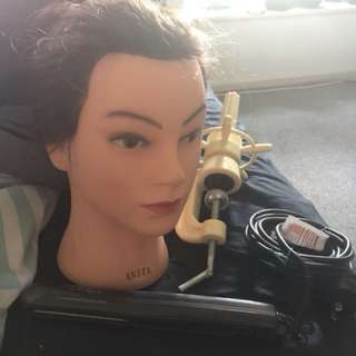 Mannequin head with clamp and professional hair straightener bundle
