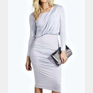 Sana Drape Shoulder Midi Dress