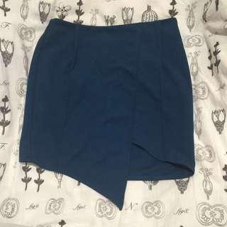Midnight Green Asymmetric Skirt