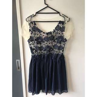 NAVY SHEER LACE DRESS