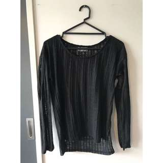 SHEER LONG SLEEVE BLACK TOP