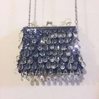 Small Vintage Blue Beaded Clutch / Handbag