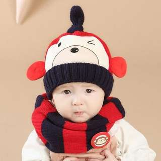 🚚 QF097 猴子套帽 秋冬 毛線帽 套裝 保暖 護耳帽 圍巾圍脖 男女 寶寶 雙層加絨毛線帽