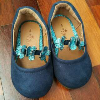 Next babygirl blue flower shoes size 4