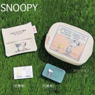 日本InRed雜誌附錄Coleman聯名SNOOPY史努比史奴比帆布化妝包小物包零錢包面紙套2件套