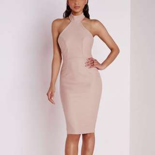 Missguided peach choker midi dress
