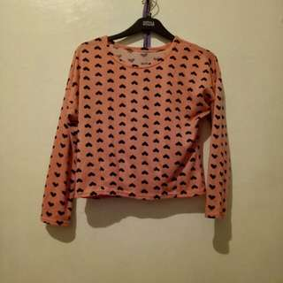 Crop top long sleeve heart print