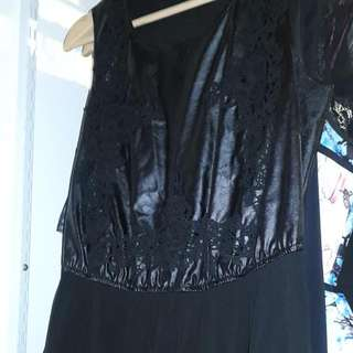 Leather/lace/sheer Singlet
