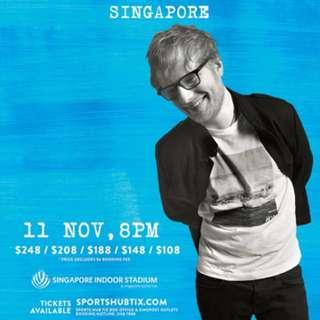 WTB Ed Sheeran's 11 Nov Concert Tickets