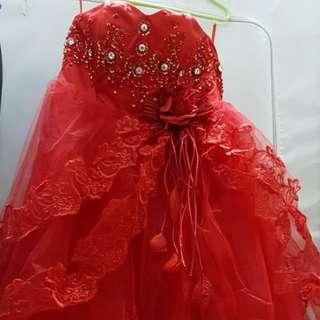 顯瘦紅色抹胸長閃石婚紗 敬酒服 XL碼 加大碼