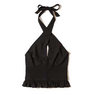 全新正品Hollister HCO黑色性感綁帶上衣~XS號