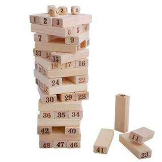 Wooden Numbers Jenga Blocks