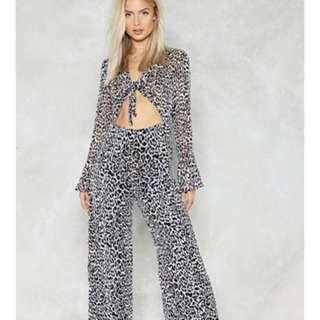 Nasty Gal Leopard Tie Up Jumpsuit