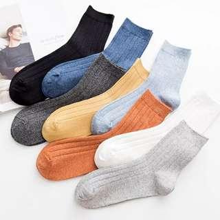 【秋冬新品】日系純棉襪豎條透氣吸汗男士運動休閒中筒襪