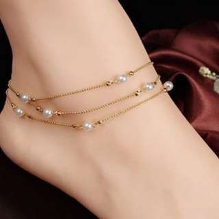 Pearl Gold Plated Anklet