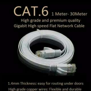 Lan Cables 1M/2M/5M/10M/15/20M/30M White Flat Cat6 Gigabit UTP LAN Network Cable For Modem / Router / LAN / Printer / MAC / Laptop [100% brand new and high quality]