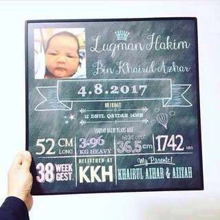 Chalkboard poster baby birth records