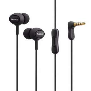 Remax RM-515 Stereo 3.5mm In-Ear Mic Headset for Samsung & iPhone - Black