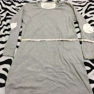Gray Long Sleeve Long Tees/Dress