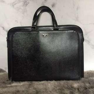 Prada Office Bag in Black Saffiano