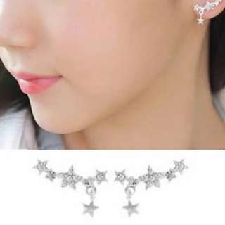 Earrings 文青滿鑽星星吊墜銀色耳環