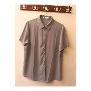 灰色復古雪紡襯衫