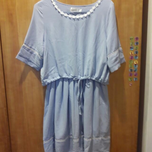 藍色假2件式洋裝