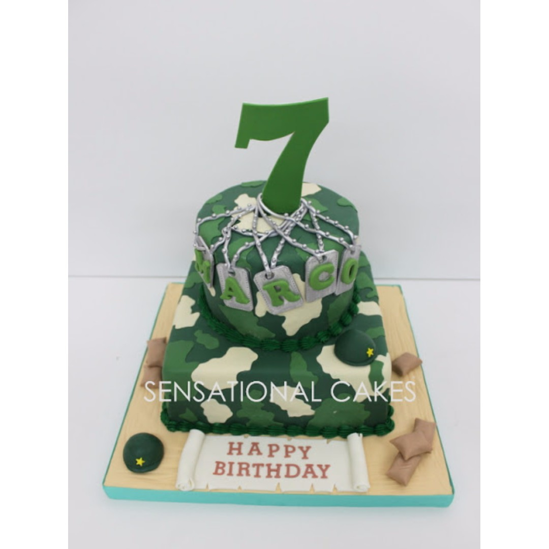 2 Tier Camouflage Army Theme Cake Singapore Ah Boys To Men Dog