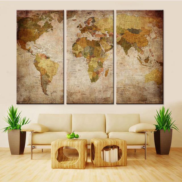 3 pieces world map wall paintings furniture home decor on carousell photo photo photo photo gumiabroncs Gallery