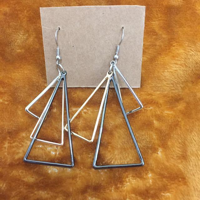 層次感三角耳環(降