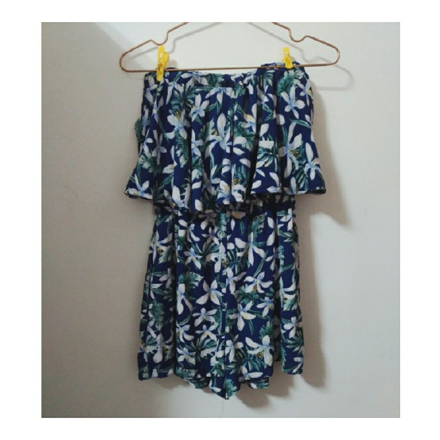 熱情荷葉花朵連身短褲 #我的女裝可超取