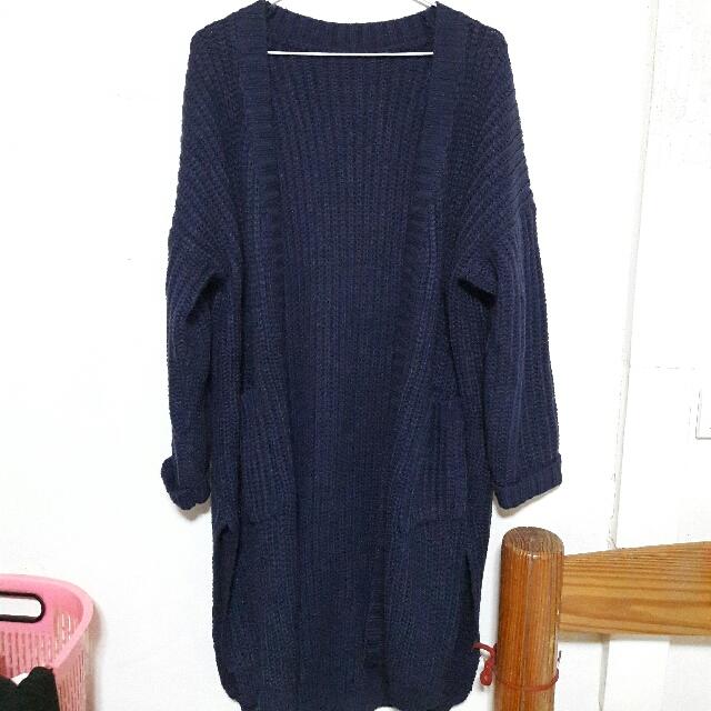 全新*深藍厚針織外套💗推🖒
