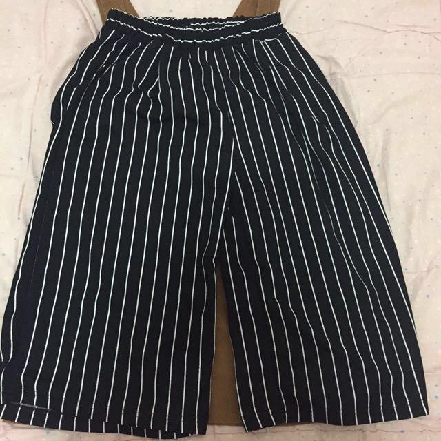 黑白條紋鬆腰棉麻寬褲/有口袋