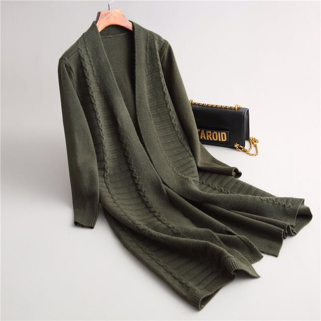 (韓國代購)軍綠/黑 厚版針織長版外套