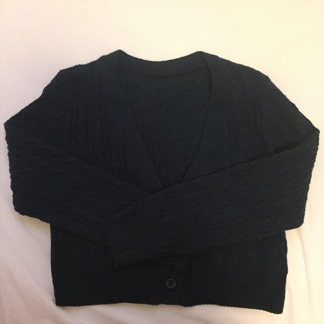 深藍針織短版外套 #四百不著涼