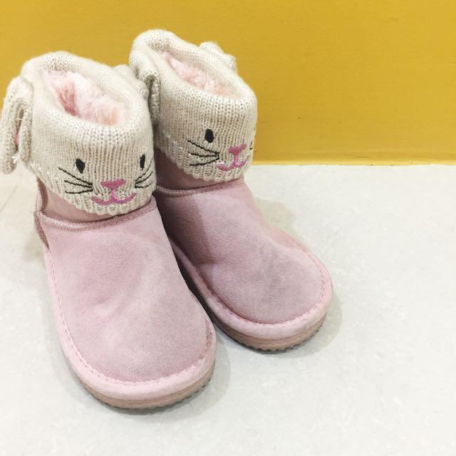 韓 女童可愛動物粉紅雪靴 28號