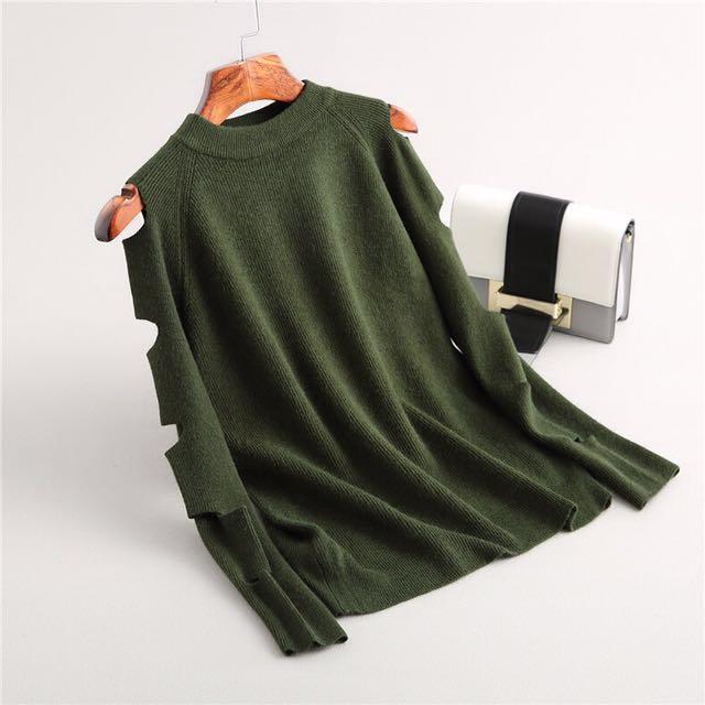 (韓國代購)綠/黑 圓領簍空針織衫 針織長袖上衣