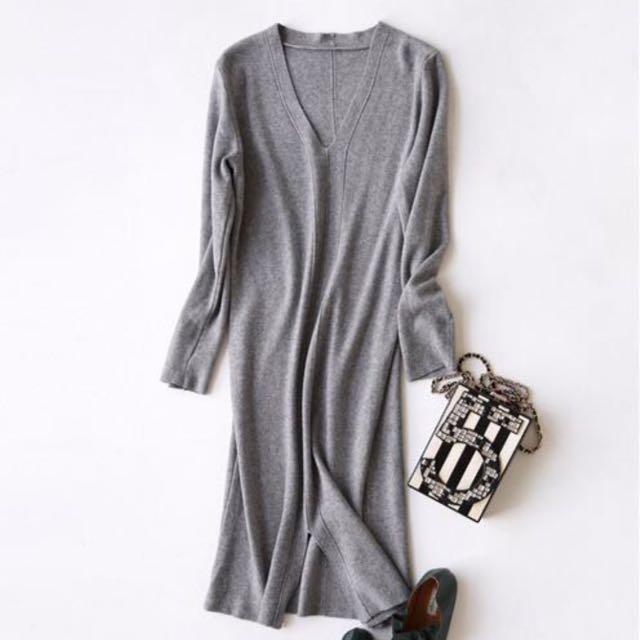(韓國代購)灰/黑/淺綠/米白 開衩針織洋裝 連衣裙