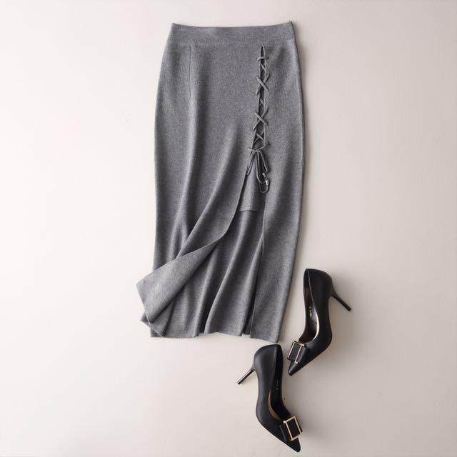 (韓國代購)灰/黑 針織合身中長裙 棉裙 翹臀