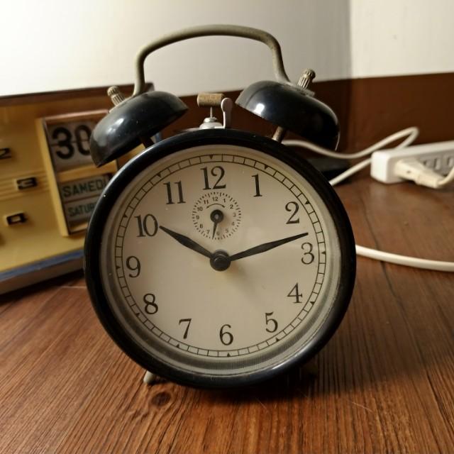 黑色 機械鐘 鬧鐘 英式風格 發條鐘