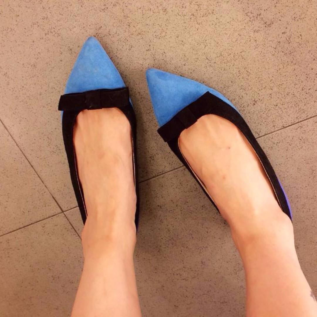 轉 oshare 妍紓 藍紫撞色尖頭手工鞋