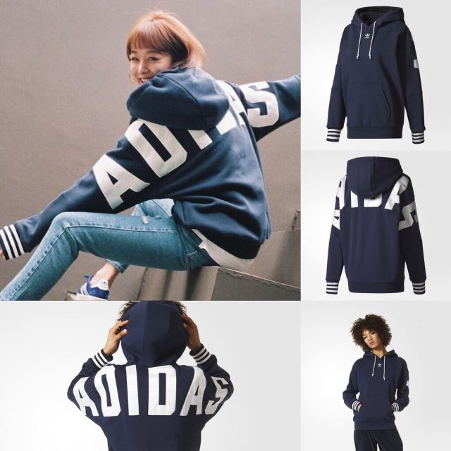 Adidas Originals  深藍 帽T  長版 三葉草