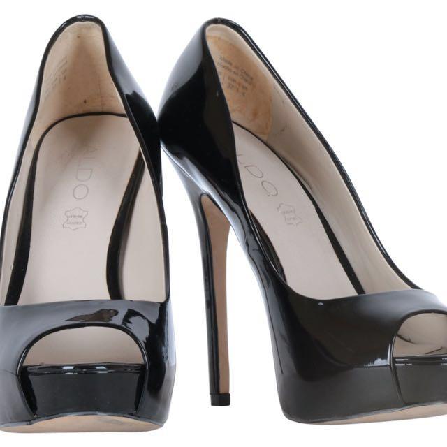 aldo black open toe heels
