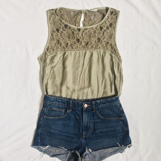 Army green laced top