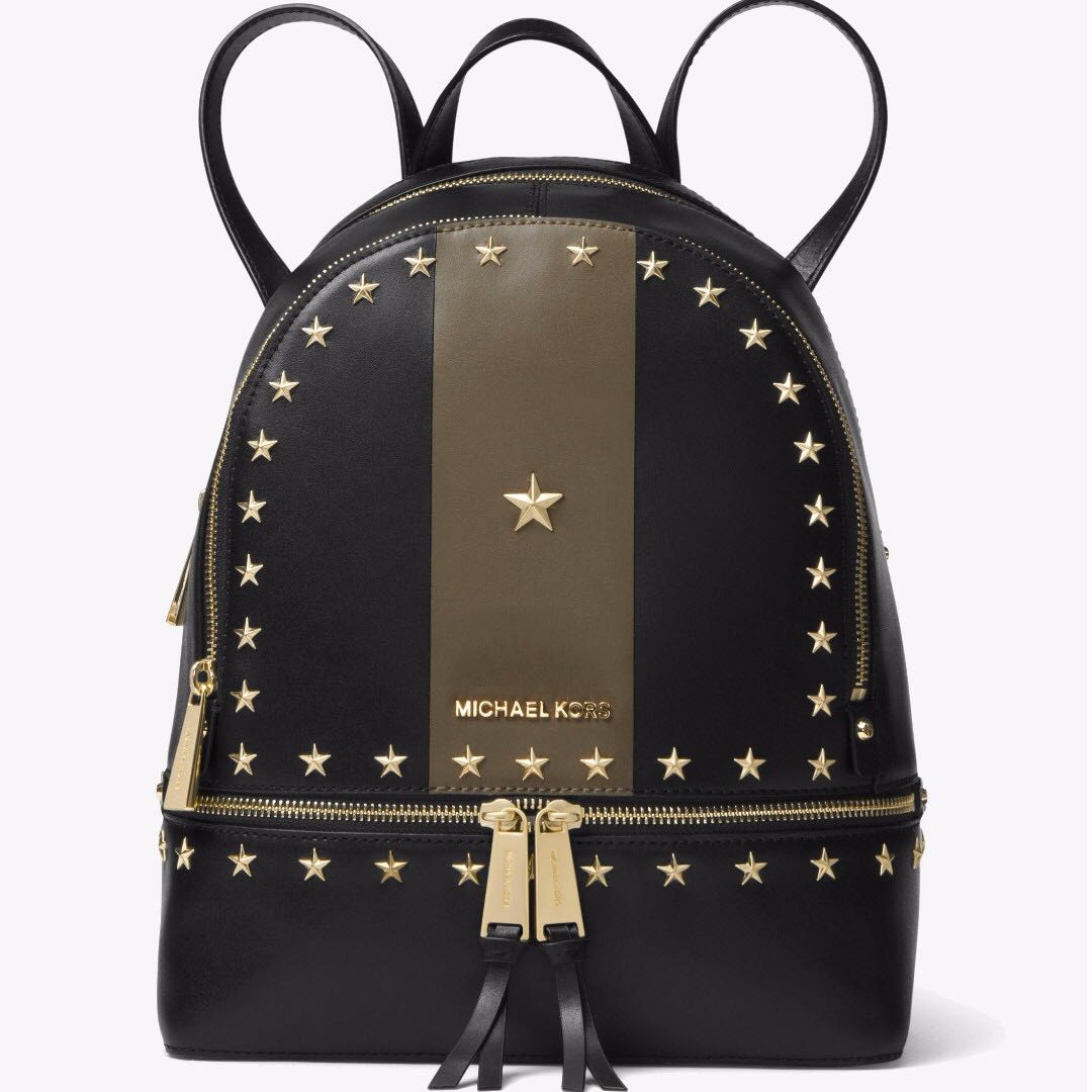 8f82f1198f8ff5 Authentic MK Michael Kors Rhea Zip Star Studded Leather Backpack, Luxury,  Bags & Wallets on Carousell